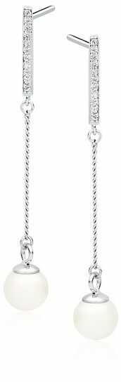 Delikatne rodowane srebrne długie wiszące kolczyki perły perełki cyrkonie srebro 925 Z1593E