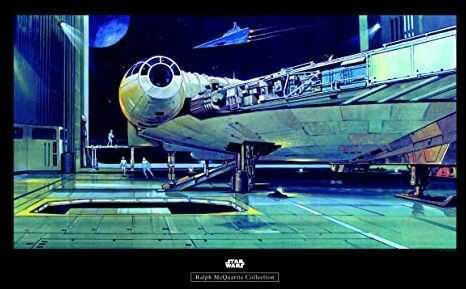 Komar obraz ścienny Star Wars Classic RMQ Falcon Hangar pokój dziecięcy, pokój młodzieżowy, dekoracja, druk artystyczny bez ramy WB140-70x50 Rozmiar: 70 x 50 cm (szerokość x wysokość)