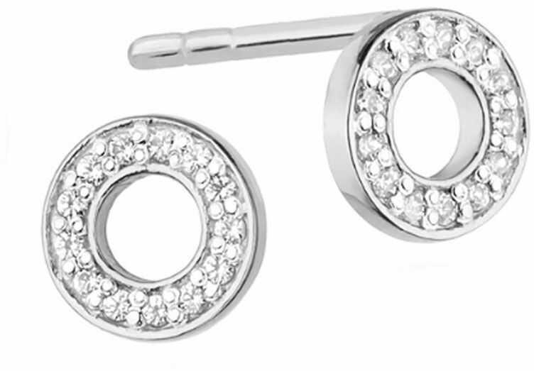 Kolczyki z białego złota 585 ringi z diamentami brylanty
