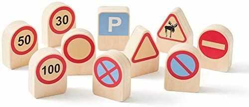 KIDS CONCEPT - Zestaw 10 znaków drogowych, kart do nauki, elektroniczna zabawka, unisex, wielokolorowy (1000343)