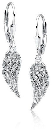 Eleganckie rodowane wiszące srebrne kolczyki celebrytka skrzydła skrzydełka wings cyrkonie srebro 925 Z1607D