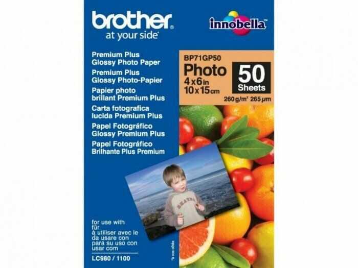 Papier fotograficzny Brother Premium Plus Glossy Photo błyszczący  50 arkuszy 10 x 15 cm 260g (BP71GP50)