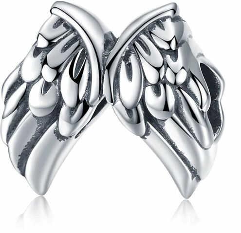 Rodowany srebrny charms do pandora serce skrzydła anioła angel wings srebro 925 BEAD45