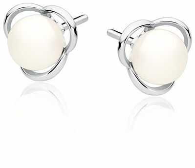 Eleganckie rodowane srebrne kolczyki perły perełki srebro 925 Z1582E