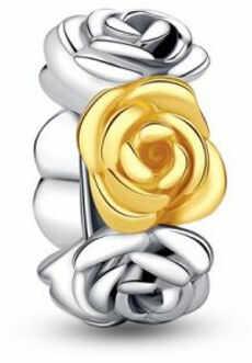 Rodowany pozłacany srebrny charms do pandora róża miłości rose srebro 925 SY018