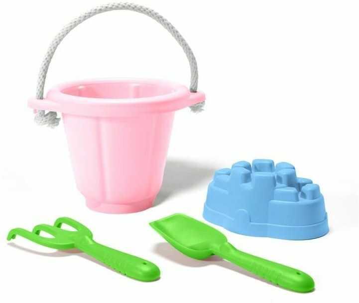 Zestaw do zabawy w piasku Różowe wiaderko z akcesoriami GTSNDP1023-Green Toys, zabawki do wody, na plażę