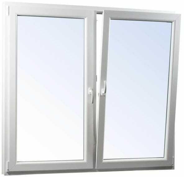 Okno PCV rozwierne + rozwierno-uchylne dwuszybowe 1165 x 1135 mm symetryczne białe/antracyt