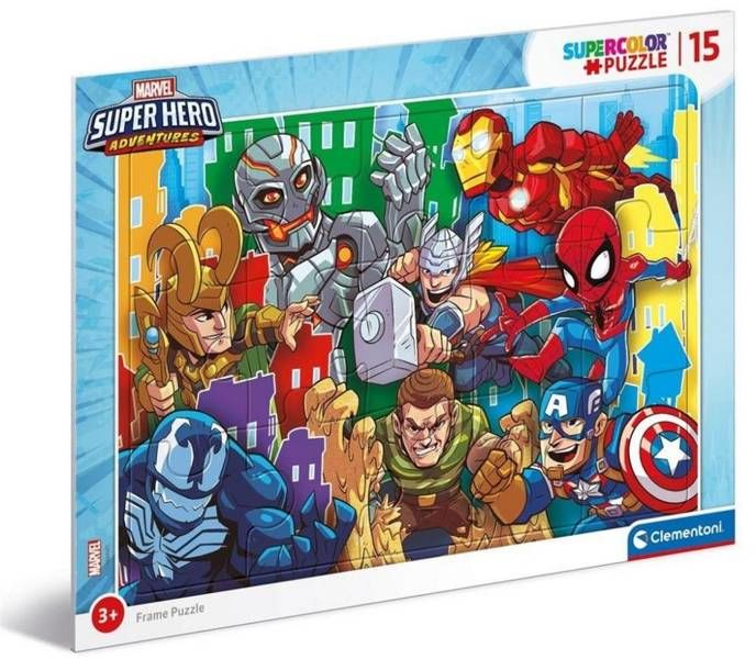 Puzzle ramkowe 15 Super Kolor Superhero - Clementoni