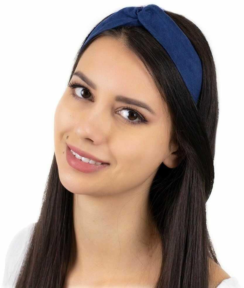 Opaska do włosów granatowa turban na gumce węzeł