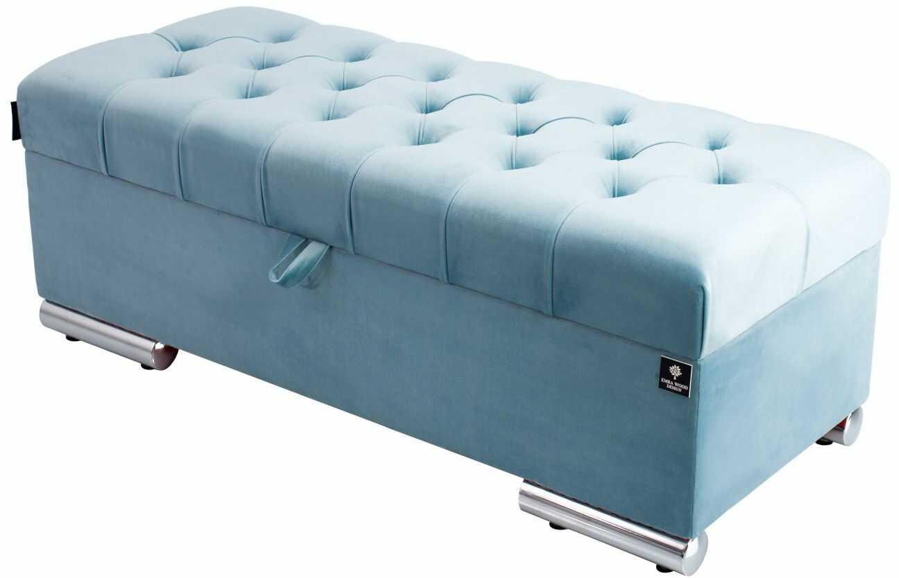 Kufer Pikowany CHESTERFIELD Jasny Błękit / Model Q-6 Rozmiary od 50 cm do 200 cm
