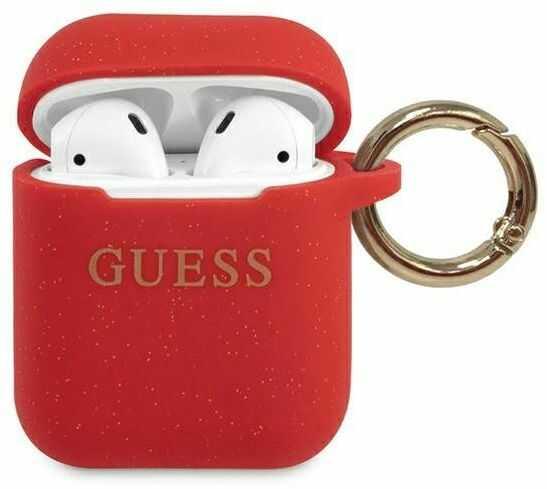 Guess GUACCSILGLRE AirPods cover czerwony/red Silicone Glitter