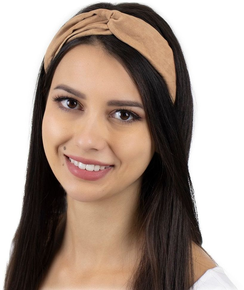 Opaska do włosów beżowa turban na gumce węzeł
