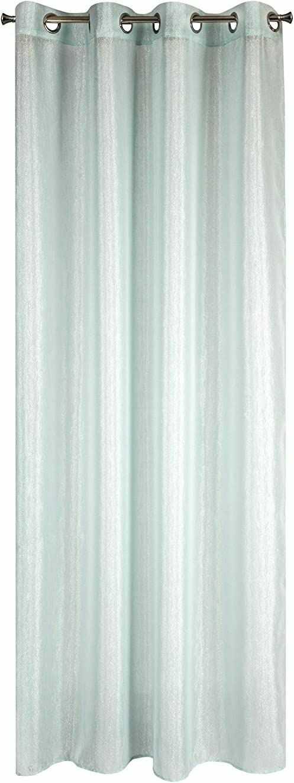 Eurofirany Zasłona gładka, błyszcząca, przezroczysta, 8 oczek, elegancka, wysokiej jakości Glamour do sypialni, salonu, salonu, mięta, 140 x 250 cm