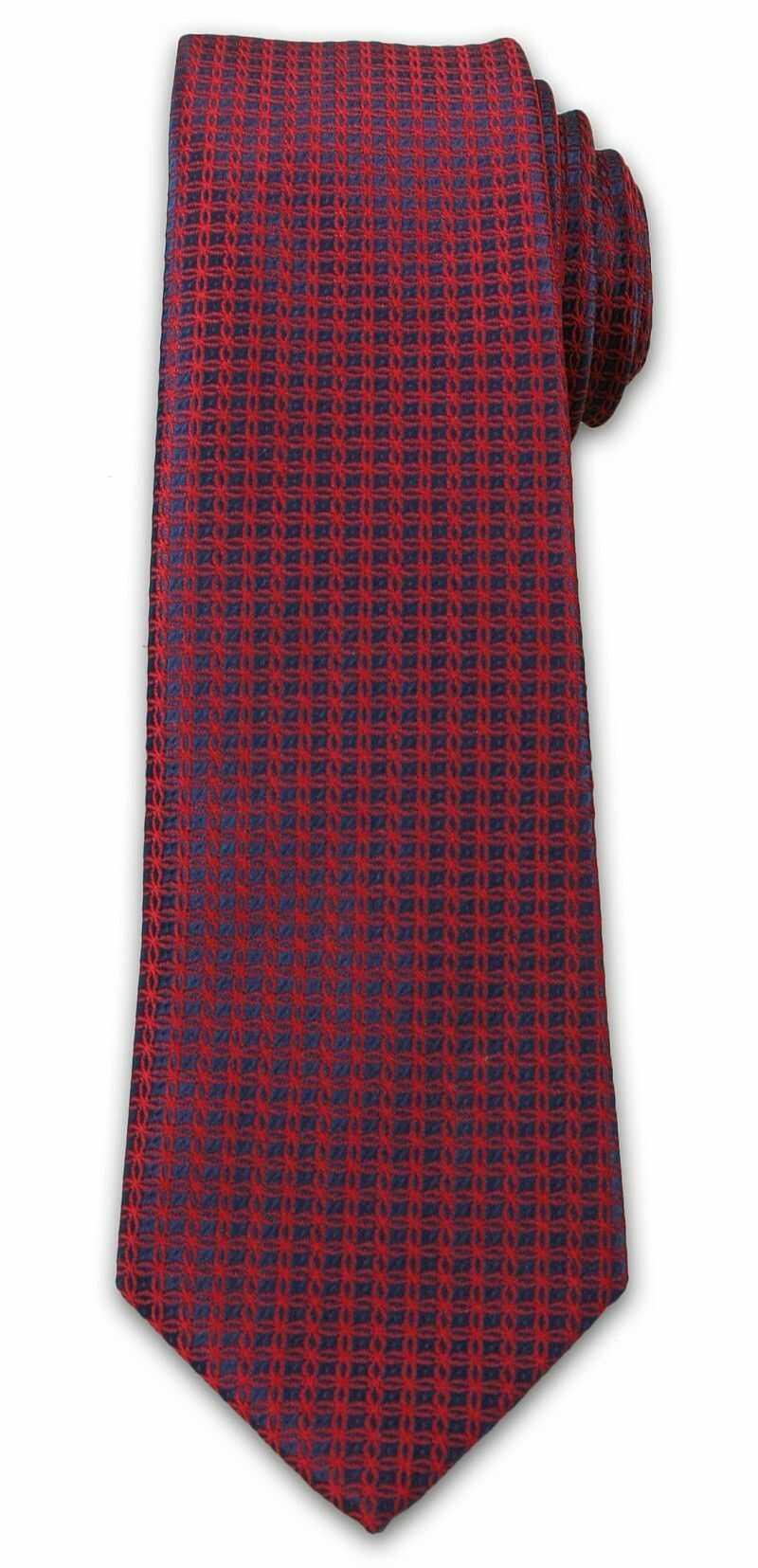 Wyrazisty Krawat Męski- Chattier- 6,7 cm - Oryginalny Wzór, Czerwono-Granatowy KRCH1006