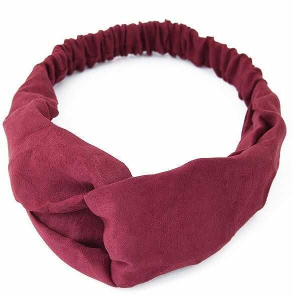 Opaska do włosów bordowa turban na gumce węzeł