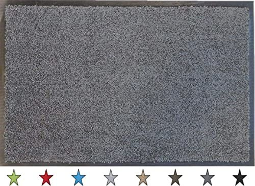 """oKu-Tex Wycieraczka mata zatrzymująca brud """"Eco-Clean"""" szara guma z recyklingu do wnętrz wejście / drzwi wejściowe / klatka schodowa / korytarz antypoślizgowa 60 x 90 cm"""