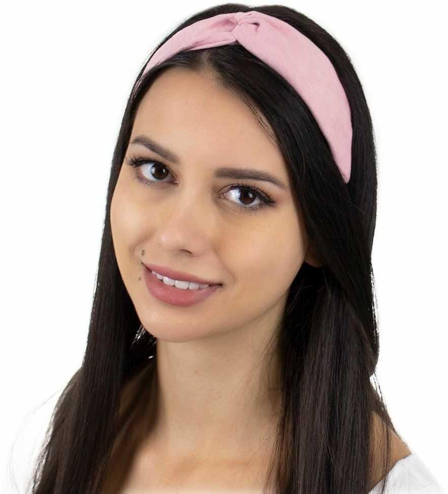 Opaska do włosów różowa turban na gumce węzeł