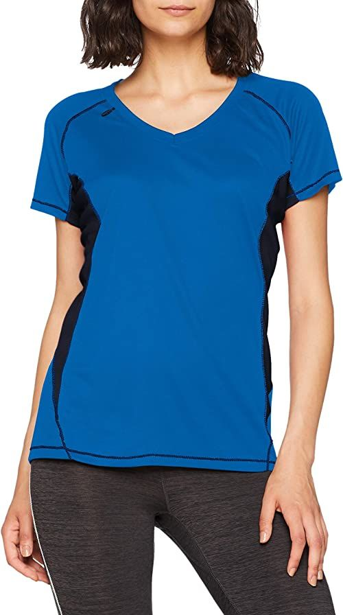 Regatta damska koszulka z krótkim rękawem Pekin Regular Fit Plain Dekolt w serek Blue (Oxford Blue/Navy 352) 12 UK(38 EU)