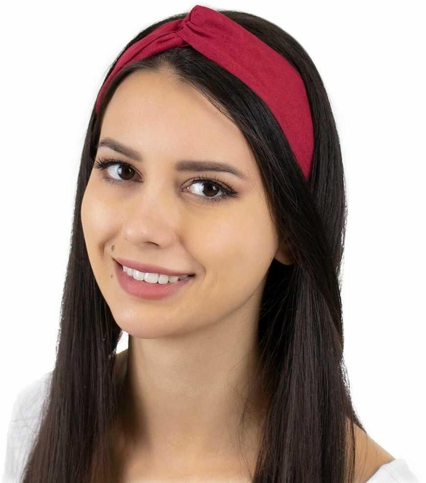 Opaska do włosów czerwona turban na gumce węzeł