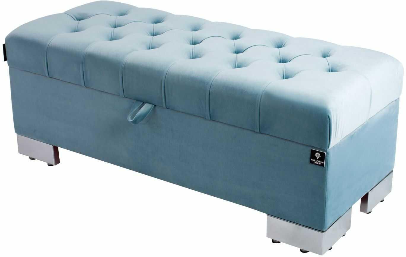 Kufer Pikowany CHESTERFIELD Jasny Błękit / Model Q-4 Rozmiary od 50 cm do 200 cm