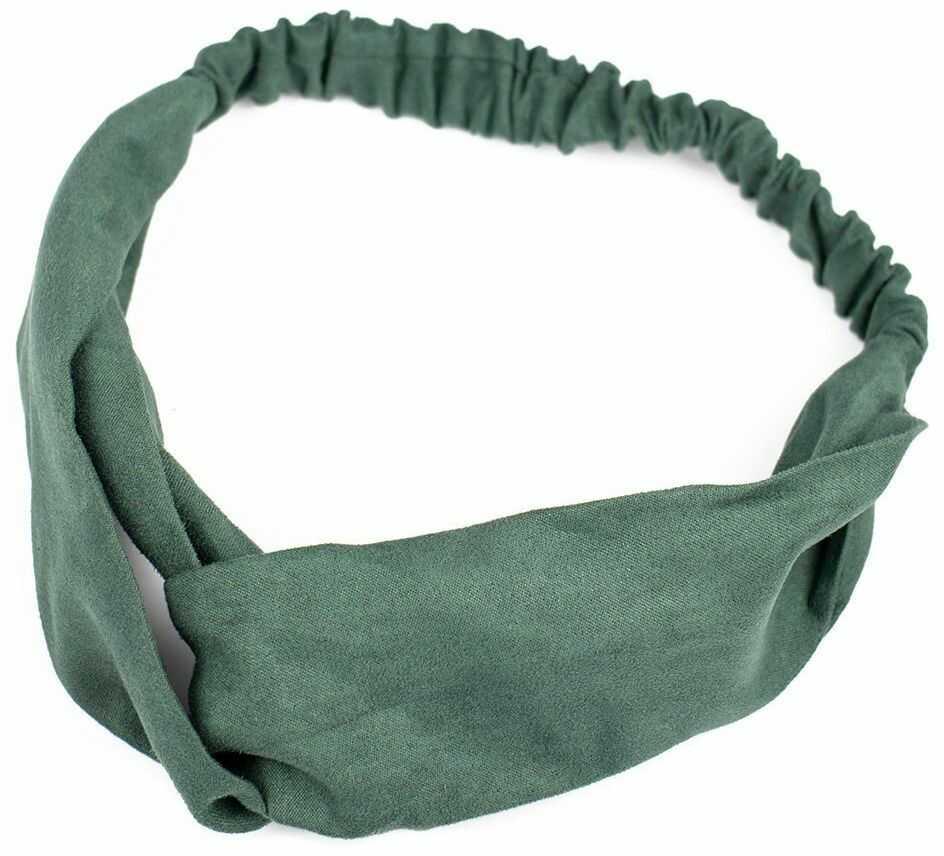 Opaska do włosów zielona turban na gumce węzeł