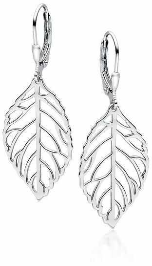 Eleganckie wiszące rodowane srebrne kolczyki celebrytki listki liście srebro 925 Z1689D