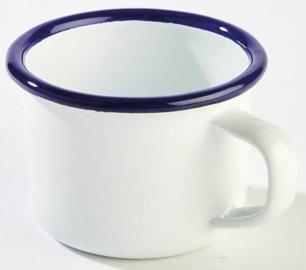 Kubek emaliowany biało-niebieski różne wymiary