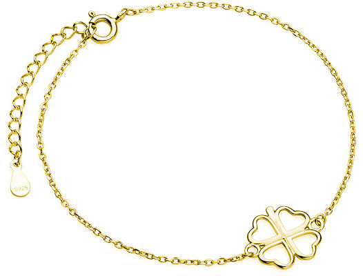 Pozłacana srebrna bransoleta gwiazd celebrytka czterolistna koniczyna srebro 925 Z1701BG