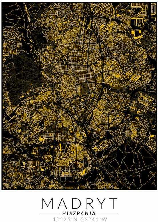 Madryt złota mapa - plakat wymiar do wyboru: 40x50 cm