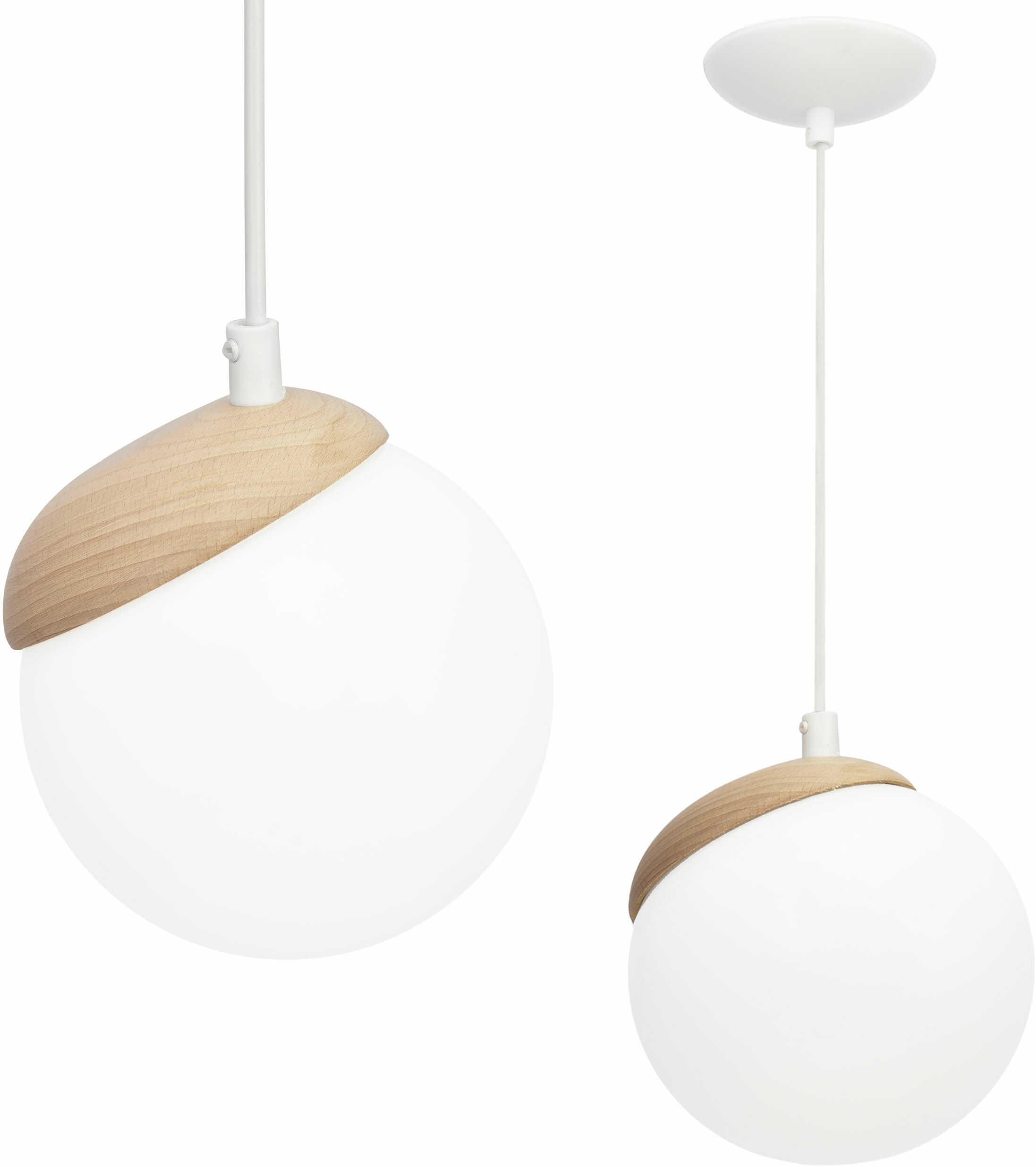 Milagro SFERA WOOD MLP5424 lampa wisząca kulisty klosz drewno regulacja wysokości biały 1xE14 14cm