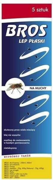 BROS Lep płaski na muchy, muszki i komary 5 szt.