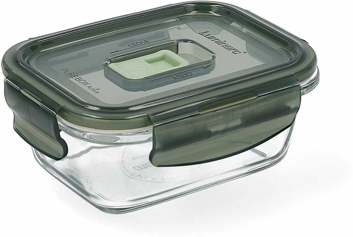 Luminarc Pure Box Active pojemnik na żywność ze szkła, prostokątny, 38 cl, oliwkowa zieleń