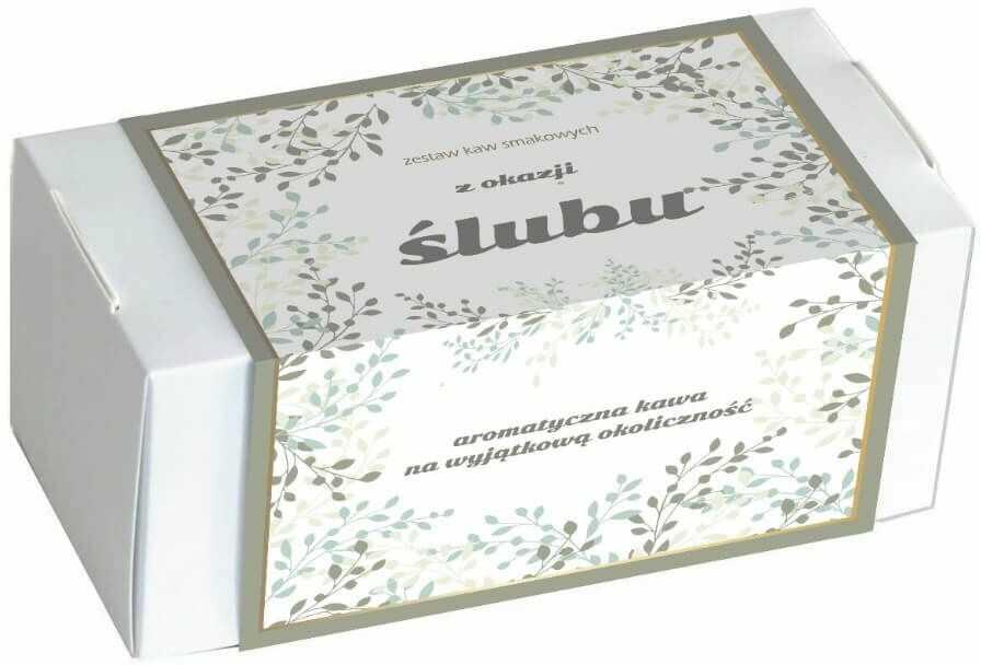 Zestaw kaw z okazji Ślubu - elegancki box z 20 saszetkami świeżo mielonej kawy o różnych smakach 20x 10g