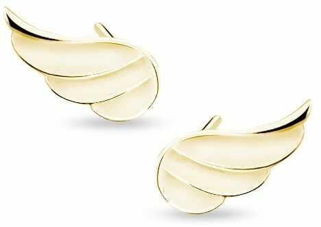 Delikatne pozłacane srebrne gładkie kolczyki celebrytka skrzydła skrzydełka srebro 925 Z1679E_G