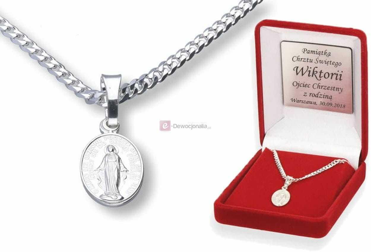 Komplet srebrny - łańcuszek PANCERKA z medalikiem M.B Niepokalana, pr.925