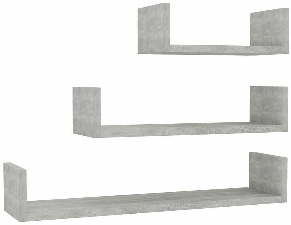 Zestaw półek ściennych w kolorze betonu - Baffic 3X