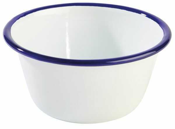 Miska emaliowana biało-niebieska 0,5L śr. 130x(H)60mm