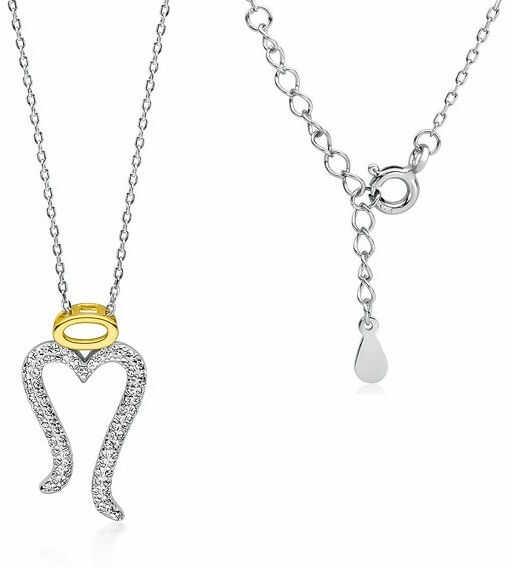 Rodowany srebrny naszyjnik gwiazd celebrytka skrzydłą anioła białe cyrkonia srebro 925 Z1718NGR