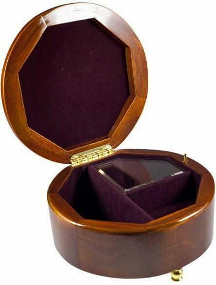 Pudełko na biżuterię okrągłe z kwiatami pozytywka