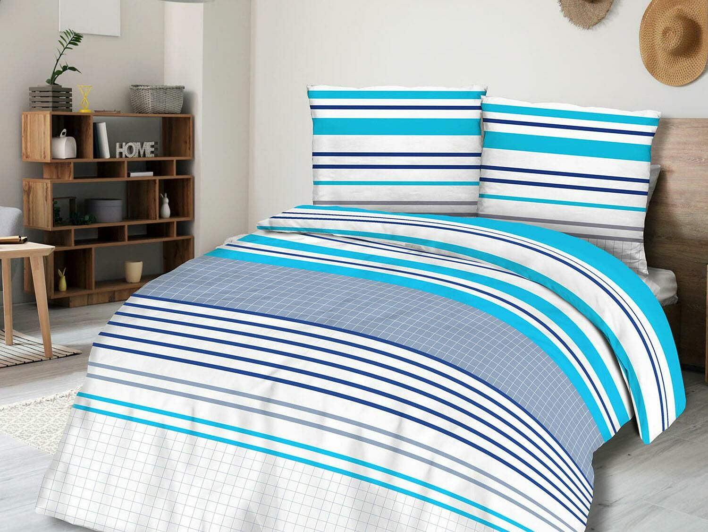 Pościel bawełniana 220x200 71439/1 paski kratka szara niebieska biała Cottonlove