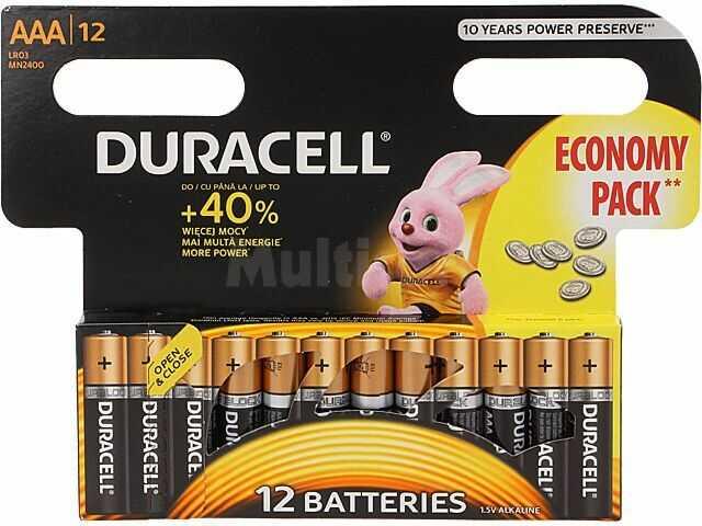 Bateria alkaliczna 1,5V AAA,R3 DURACELL 12szt.