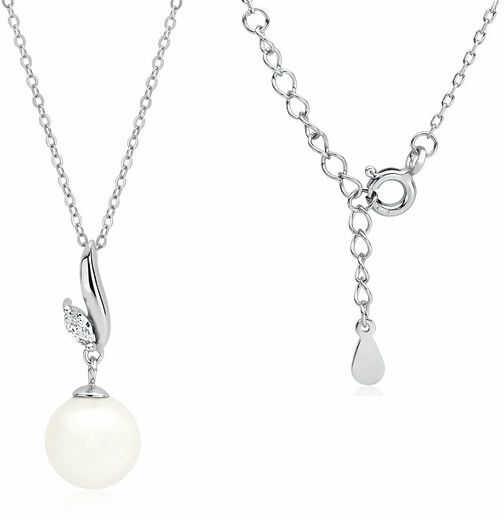 Rodowany srebrny naszyjnik gwiazd celebrytka perła perełka biała cyrkonia srebro 925 Z1596N