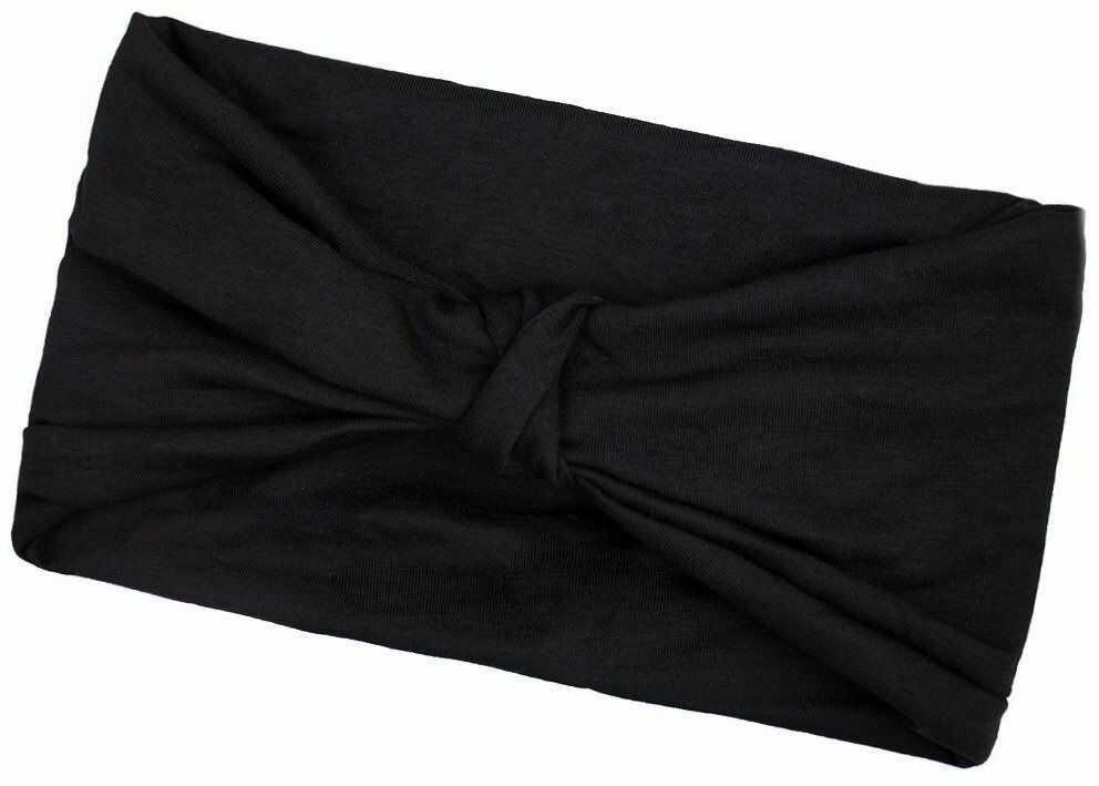 Opaska do włosów turban bandamka czarna węzeł