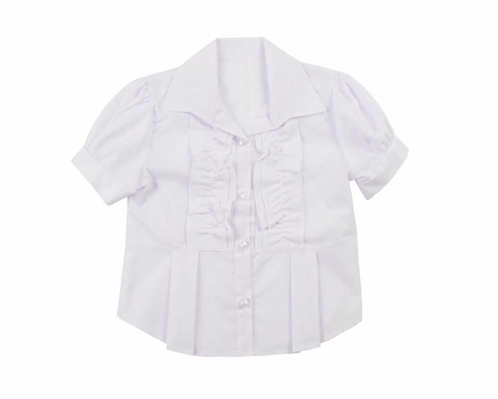 Dziewczęca bluzka z żabotem 122-158 Odetta biała