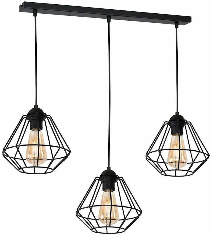 Milagro COLIN BLACK MLP4790 lampa wisząca metalowy koszyk industrialna czarny 3xE27 60cm