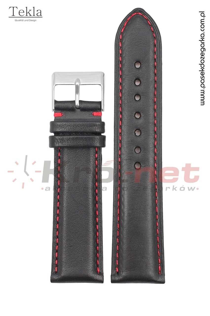 Pasek TK116/CZ/24 - czarny, czerwone nici