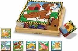 Melissa & Doug Zwierzęta drewniane sześcian puzzle z tacą do przechowywania (16 szt.)
