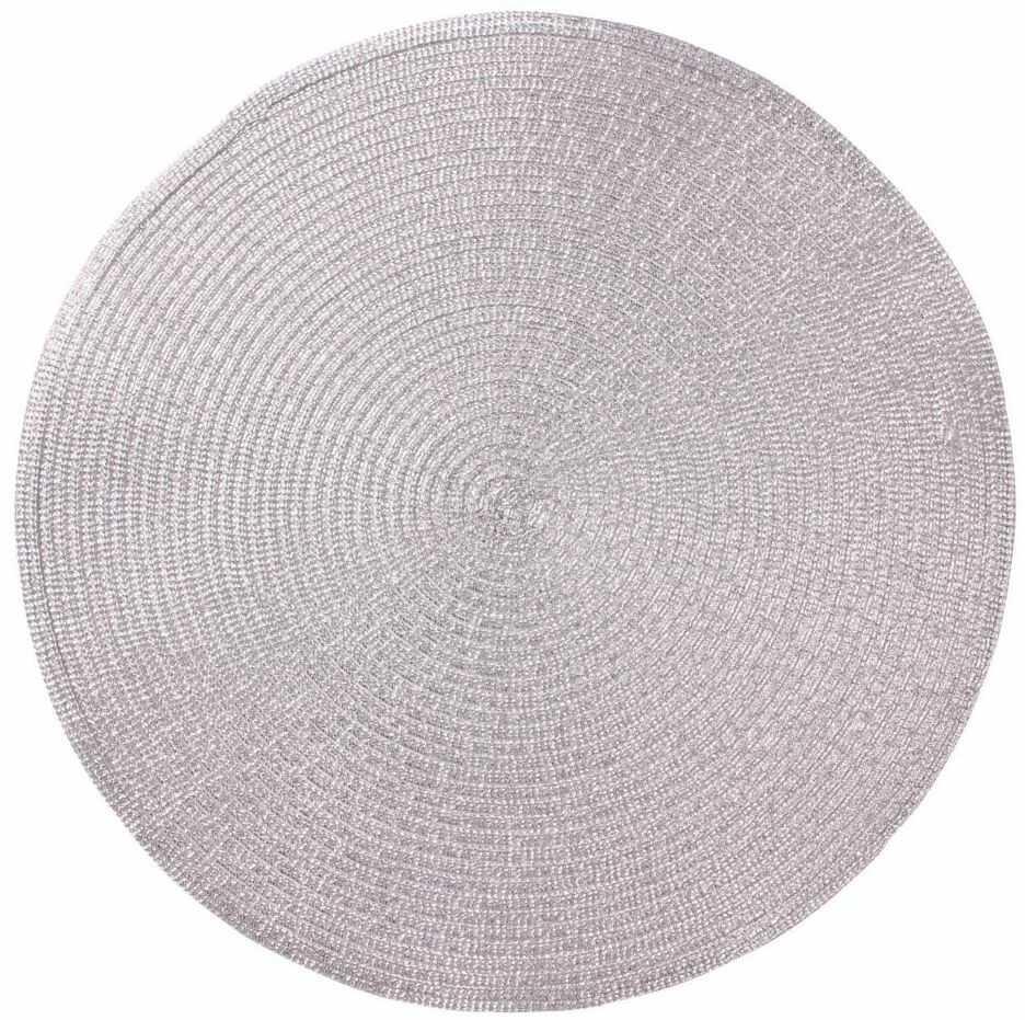 Podkładka na stół Glitter okrągła śr. 38 cm srebrna