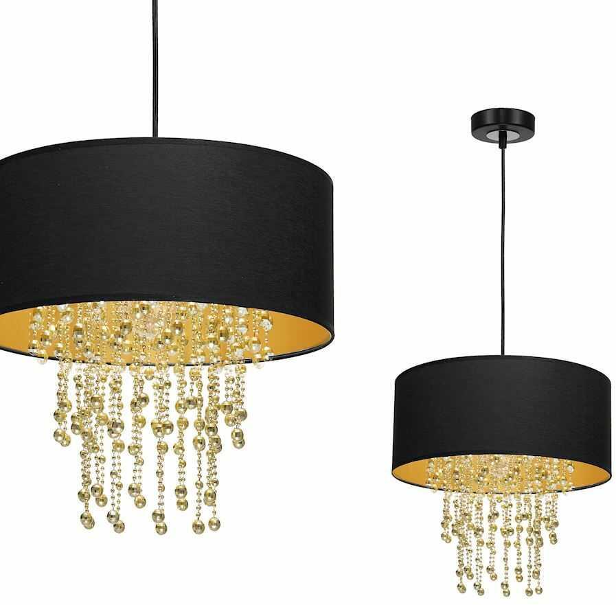Milagro ALMERIA MLP6441 lampa wisząca czarny abażur kryształowe sznurki 1x60W E27 35cm