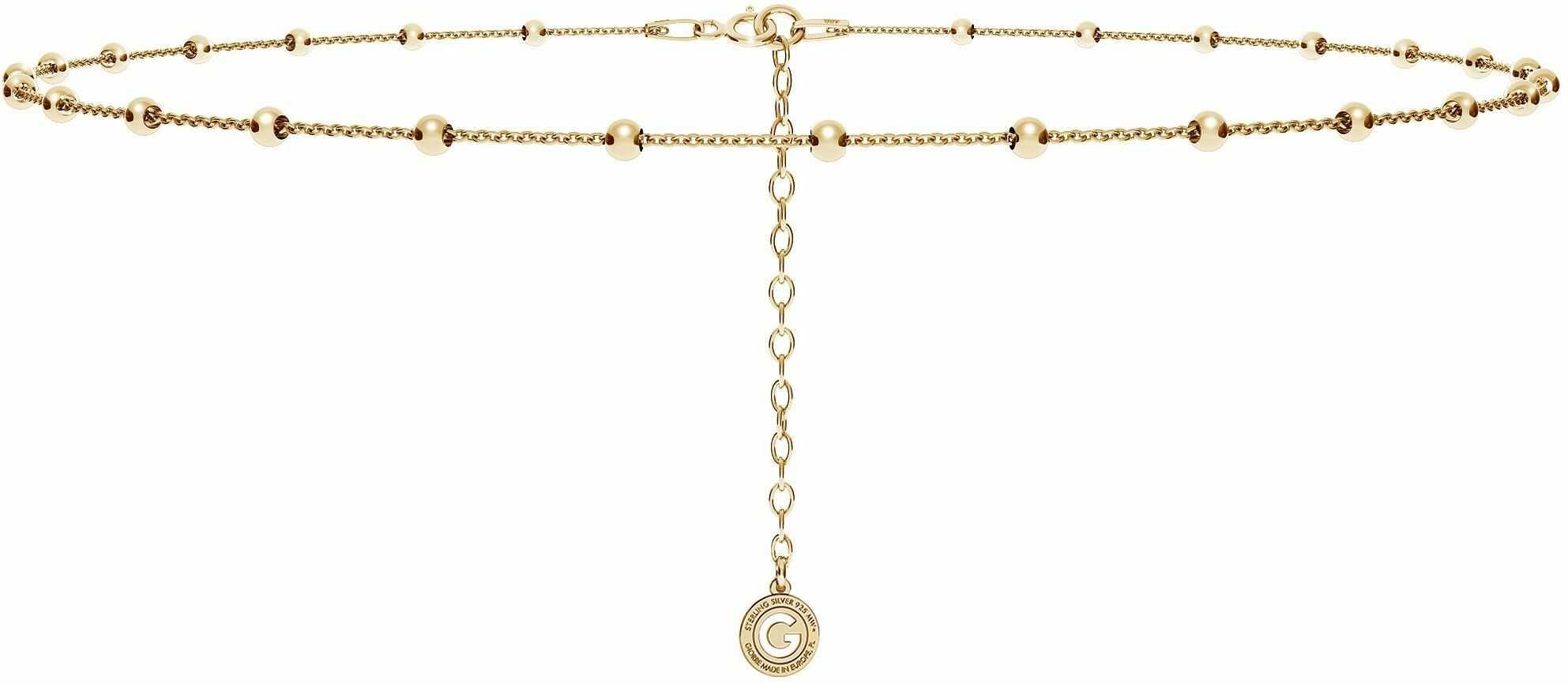 Srebrny łańcuszek choker ankier z kulkami, srebro 925 : Długość (cm) - 35 + 5, Srebro - kolor pokrycia - Pokrycie żółtym 18K złotem